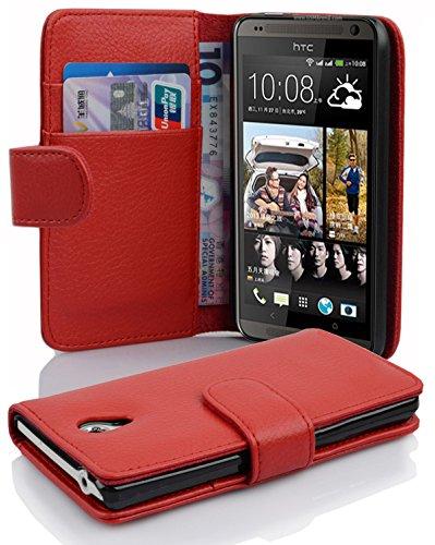 Preisvergleich Produktbild Cadorabo Hülle für HTC Desire 700 - Hülle in Inferno ROT Handyhülle mit Kartenfach aus struktriertem Kunstleder - Case Cover Schutzhülle Etui Tasche Book Klapp Style