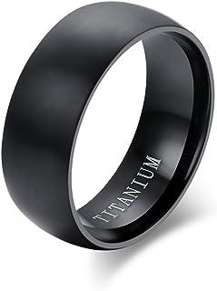 Vnox Forma di Cupola di Titanio Puro dell'uomo Alta Fascia Polacca di Nozze di Cerimonia Nuziale dell'anello Nero Comfort ...