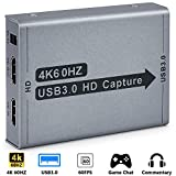 4K Video Capture Card, HDMI to USB3.0 Live Streaming Game Recorder Card, 4K 60HZ Video/Audio Game Capture Box for Switch PS4 Xbox One, Compatible with Linux/Mac OS/Windows