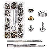 Corchetes de presión Tornillo, AILANDA 153 pcs Botones de Presión de Metal Herramienta d...