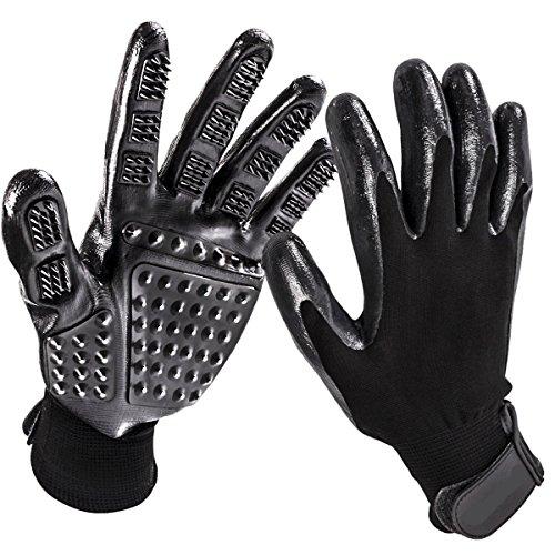 Fellpflege Handschuhe–links & rechts–Verbesserte Five Finger Design–Sanfte Pet Haarentferner–Baden Massage deShedding Pinsel–für Hunde Katzen Pferde Kaninchen