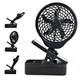 O2COOL 5' Clip On Fan - Powerful D Battery Operated with 2 Speeds (Black)