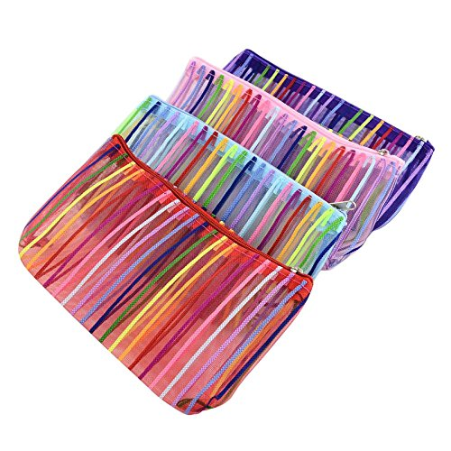 PandaHall - Lot de 12pcs Maille Poches zippées Multifonctions, Sacs à cosmétiques, Couleur Multicolore, 185x110x8 mm
