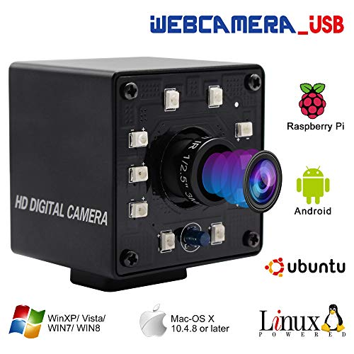 100fps Night Vision USB Camera 1/2.7' CMOS OV2710 Web Cam Full HD 1080P USB with Camera Mini Infrared USB2.0 Webcam with IR Cut and 10pcs Led Board,Webcamera with 3.6mm Lens for Android Windows Linux