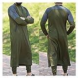 CHENGTAO Ropa para Hombres Camisa de Manga Larga Tops Trajes Tradicionales Vestidos de Hombres Cómodo (Color : Mint, Size : 2XL.)
