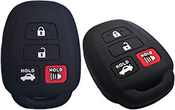 RUNZUIE Silicone Keyless Entry Remote Key Fob Cover Case Protector Fit for Toyota Camry SE LE Avalon Corolla RAV4 Venza HYQ12BDM Blcak 4 Buttons