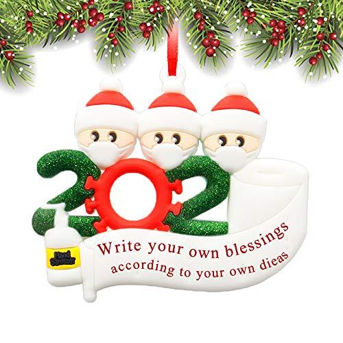 XBrand 2020 Christmas Ornaments, Quarantine Survivor Family Ornament Kit, Christmas Decorating Kits, Creative Gift for Family 1-7, Name Christmas (Family of 3, Size 2)
