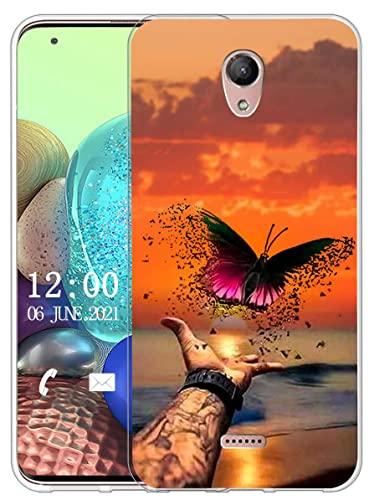 Sunrive Kompatibel mit Wiko U Feel Fab Hülle Silikon, Transparent Handyhülle Schutzhülle Etui Hülle (X Schmetterling)+Gratis Universal Eingabestift MEHRWEG