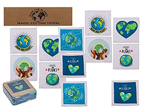 Bada Bing 12er Set Magisches Handtuch Zauberhandtuch 30 x 30 Save The Planet Unisex Trend 04