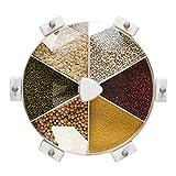 壁の穀物ディスペンサー 漏斗測定カップ 穀物およびオートミール貯蔵機 壁米収納箱 乾燥食品ディスペンサーを備えた食品ディスペンサー(Color:白い)