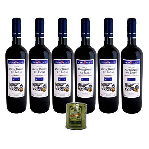 6er Paket Mavrodaphne of Patras Rotwein lieblich Achaia Clauss - 6 x 0,75 Liter + 80 ml Rhodion Olivenöl