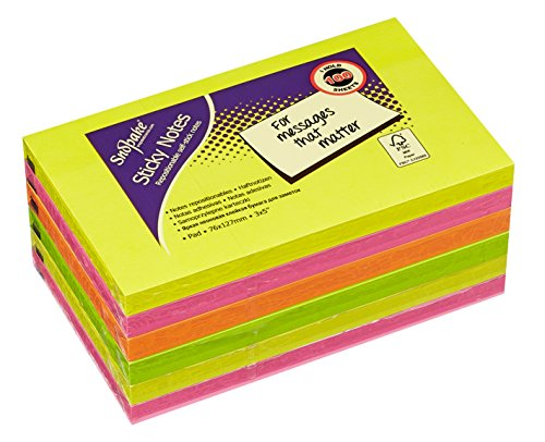 Snopake 127 x 76 mm Neon Sticky Notes – Neon Assorted [Pack of 6, 100 Sheets Per Pad] Ref: 13528