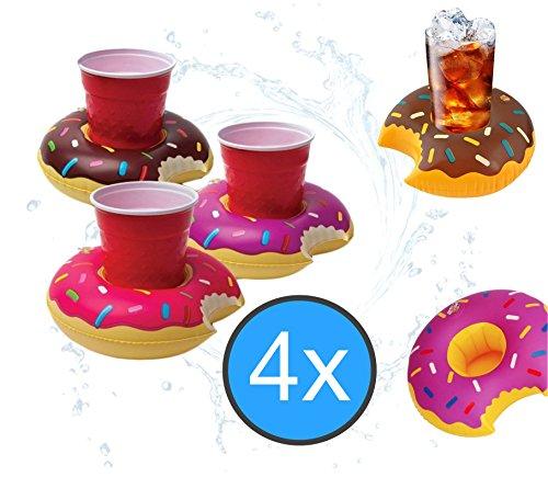 TK Gruppe Timo Klingler 4X Getränkehalter Donut aufblasbar Luftmatratze Schwimmring Schwimmreif für Pool, Wasser, Cocktailhalter, Bierhalter, Becher, Dosenhalter, Becherhalter Bier (4X Donut)