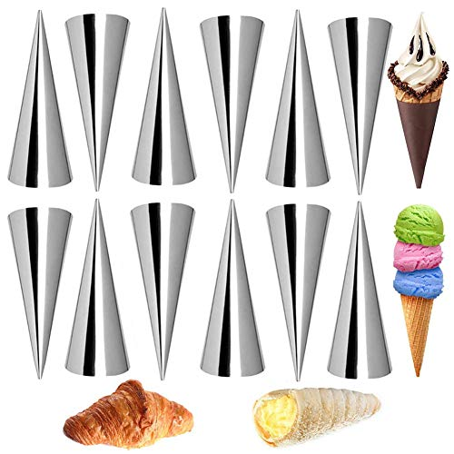 Backform-Set, 12 PCS Edelstahl-Cannoli-Rohre, Antihaft-Croissant-Form zum Backen von Waffeltüten Eiscreme-Tüten