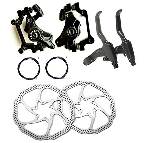 Fat-Cat Front and Back Disc Brake Kit - Aluminum Alloy Calipers, 2 Pcs Stainless Steel 160 mm Rotors & Cable & Brake Lever & 12 Bolts, Freewheel Threaded Hubs Hole Distance of 44mm