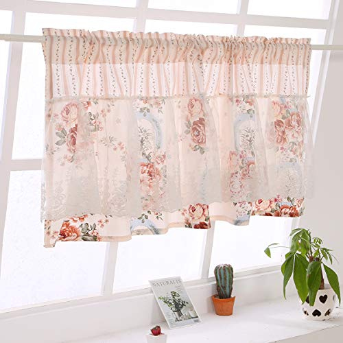 Qucover Scheibengardine Bistrogardine Kurzstore Landhausstil mit Blumenmuster für Küche Fenster Badezimmer Wohnzimmer Breite 150cm x Höhe 60cm Blickdicht
