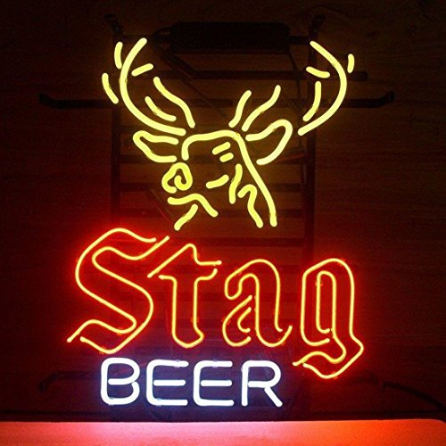Urby STAG BEER Real Glass Neon Light Sign Home Beer Bar Pub Recreation Room Game Room Windows Garage Wall Sign 19''x15'' A20-08