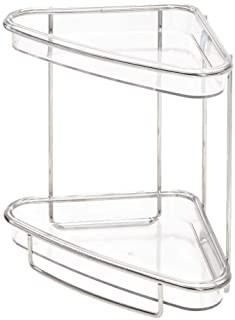iDesign Clarity Shelves, Plastic and Metal 2-Tier Toiletry Storage Unit, Shower Corner Shelf for Storing Accessories, Silv...