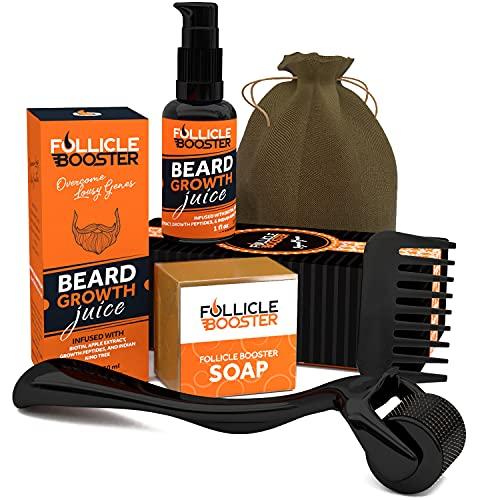 Organic Beard Growth Kit - Beard Growth Serum, Beard Roller, Beard Wash Soap, Keychain Pocket Comb - Organic, Vegan, Beard Products - Gifts for Men Him Dad Boyfriend Husband Friend