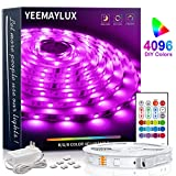 YEEMAYLUX LED Strip Lights 16.4ft 4096 DIY Color changing 5050 RGB 150 LEDs light strip kit with Remote and Hidden Controller Easy Installation for TV backlight,Room and Bedroom Multicolor Decoration.