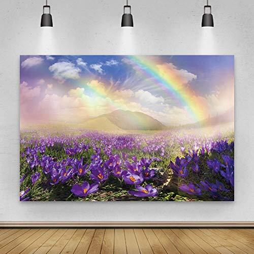 Fondo de fotografía Campo de Flores de Primavera de ensueño Arco Iris Baby Shower Fondo de Vista Natural Estudio fotográfico A7 10x10ft / 3x3m