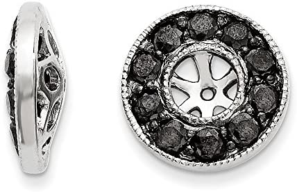 14k White Gold Black Diamond Jackets Earrings