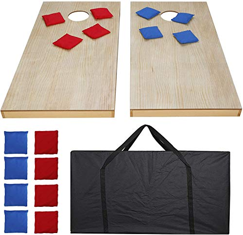 4ft X 2 ft Cornhole Bean Bag Toss Game Set Solid Wood Portable Design W/Carrying Case for Tailgate Party Backyard BBQ