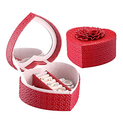 Lwieui Caja de Almacenamiento de la joyería Caja en Forma de corazón con Forma de corazón de Amor Joyas para Mujer Regalo Aretes Caja de Almacenamiento Caja (Color : Rose Red, Size : Free Size)