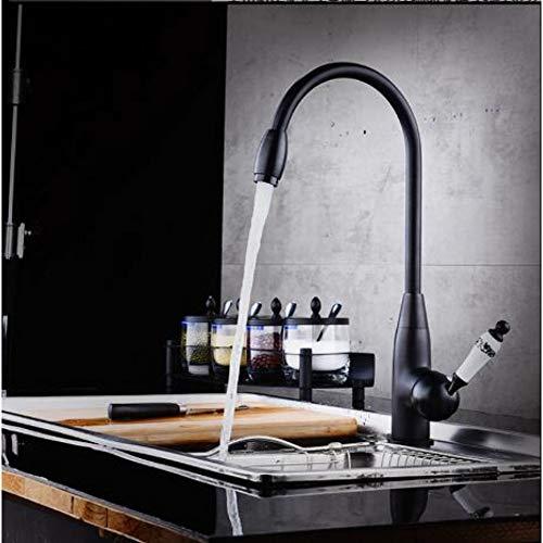 BFLO Kraan Warm & Koud Eengreeps Keukenkraan Met Keramisch Handvat Draaibaar Zwart Olie Geborsteld Keukenmengkraan Wastafelkraan