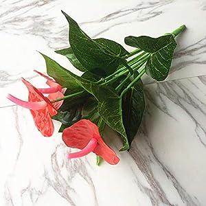 Thuzlivk – Artificial Dried Flowers – 1bunch Artificial Flower Red Palm Fake Anthurium Bouquet Wedding Arrangement Christmas Home – Flowers Dried Artificial Artificial Dried Flowers Orchid Flower Indo