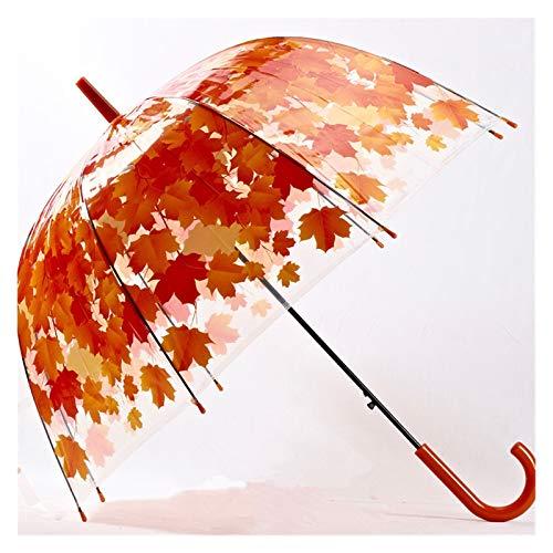 Paraguas La mujer del paraguas 4 colores creativo parasol lindo fresco de PVC transparente Hojas de setas jaula Arco paraguas del niño a largo paraguas de la lluvia / Ropa de lluvia ( Color : Red )