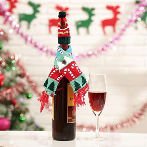 Nunubee Suéter De Bolsa Con Tapa De Botella De Vino Con Juego De Sombrero Decoración De Mesa De Fiesta De Navidad