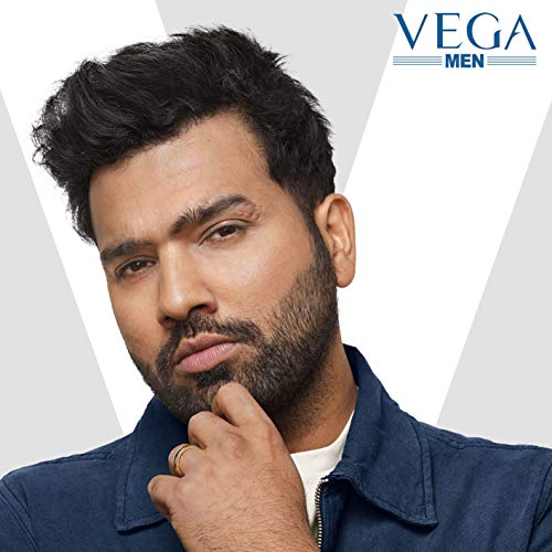 Vega T-3 Beard Trimmer for Men, Stainless Steel Blades, Cordless & Quick Charge, 20 Length Settings, 90 min run time, Black