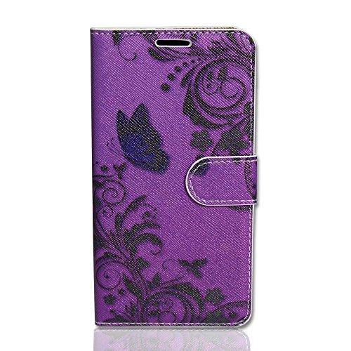 Handy Tasche Hülle book für HTC Desire 310/Hülle Handytasche butterfly purple
