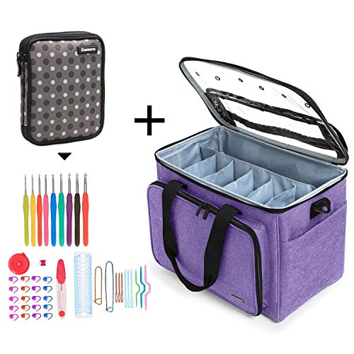 Great Bundles On Yarn Storage Knitting Bag and Crochet Hook Set, Perfect for Knitter Beginner On Th Go