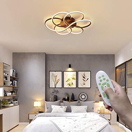 LED Deckenleuchte Dimmbar Schlafzimmerlampe Moderne Deckenlampe Braun mit Fernbedienung Spiral Kreativ Metall Decke Licht Silikon Lampenschirm 72W, für Wohnzimmer Arbeitszimmer Balkon Ø60cm