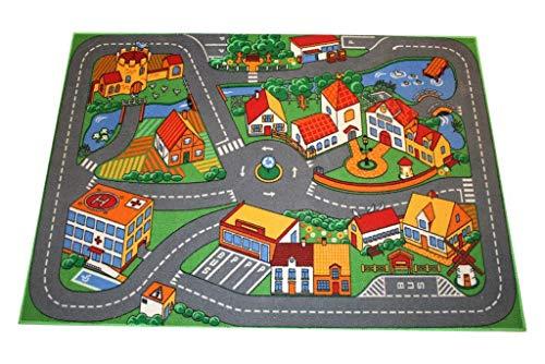 Alfombra infantil (95 x 133 cm), diseño de ciudad con carreteras