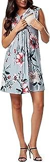 iFOMO Women's Sleeveless V-Neck Floral Pattern Pregnant Maternity Dress