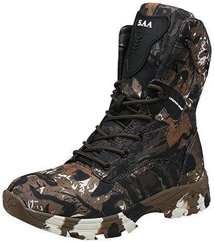 Doubjoy Scarpone da caccia per uomo, scarponcino da trekking traspirante a metà altezza Stivali mimetici Stivali tattici Q3 Scarpe mimetiche Stivali alti (44 EU,A-Brown)