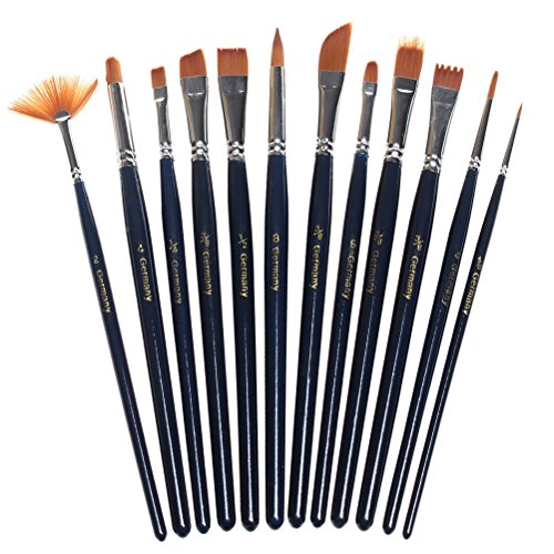 sicai Brochas de pintura 12 Piezas Set Brocha Profesional Punta Redonda Pelo de Nylon artista Acrylic Brush para Acrílico Acuarela Óleo