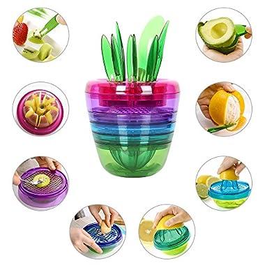 Fruit Slicer Set Creative Kitchen Tools Gadgets Fruit Cutter Best Unique Cool Citrus Peeler, Apple Slicer, Citrus Juicer, Fruit Grater