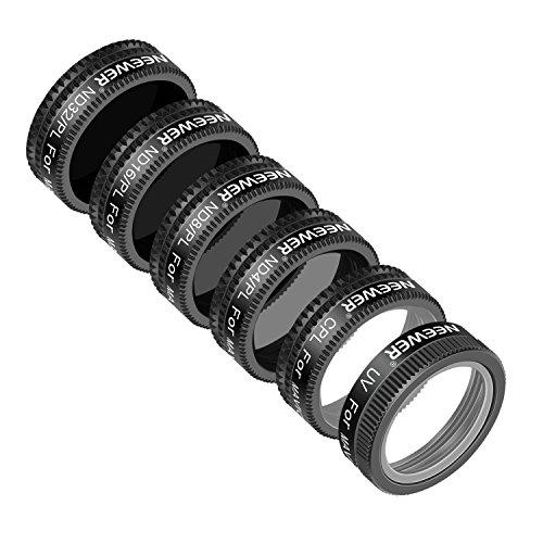 Neewer DJI Mavic Air Filter Set - 6 Stück, UV, CPL, ND4 / PL, ND8 / PL, ND16 / PL und ND32 / PL Filter, aus optischem Glas und Aluminiumlegierung Rahmen (schwarz)