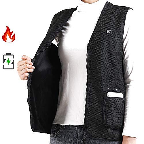 FCCYG Smart Heating Vest, beheizbare elektrische Weste-Körper-Wärmer USB-Energien-Bank 3-stufige Temperatureinstellung Angetrieben für Motorrad-Motorschlitten Bike,XL