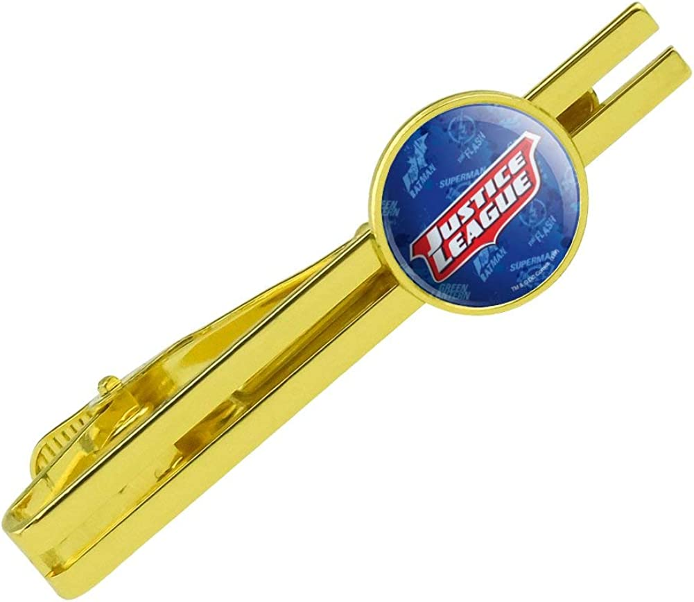 GRAPHICS & MORE Justice League Logo Round Tie Bar Clip Clasp Tack Gold Color Plated