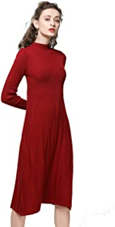 Knitted Dress Women Cashmere Wool Soft Warm Cozy Elegant Ribbed Elbow Knee-Length Sweater Dresses