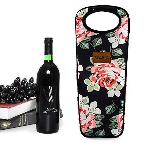 winmax Insulated Wine Carrier Bag, Flessenkoeler, geïsoleerde zak voor 2 flessen wijntassen voor het dragen van sportflessen, champagne, wijn, drankjes, bier, frisdrank, flessen