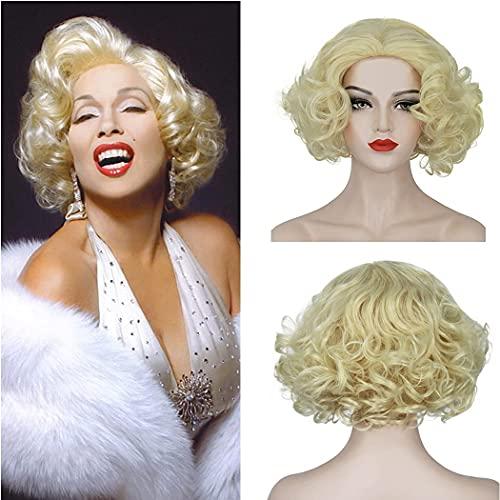 HMHMVM Pelucas Cortas rubias para Mujeres Blancas Marilyn Monroe Disfraz Cosplay Moda Lindas Pelucas de Pelo sintético para Fiesta de Halloween