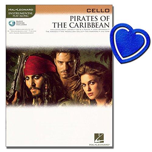 Pirates of the Caribbean - Cello Noten - 16 Stücke aus dem gleichnamigen großartigen Kinokassenschlager mit herzförmiger Notenklammer