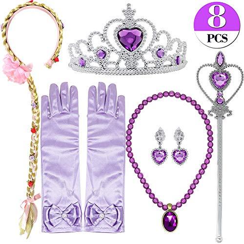Bascolor Principessa Rapunzel Sofia Vestito Accessori Collana Diadema Guanti Orecchini Bacchetta Magica Treccia Principessa Gioielli Cosplay Vestito Principessa per Bambini Ragazza (con la Treccia)