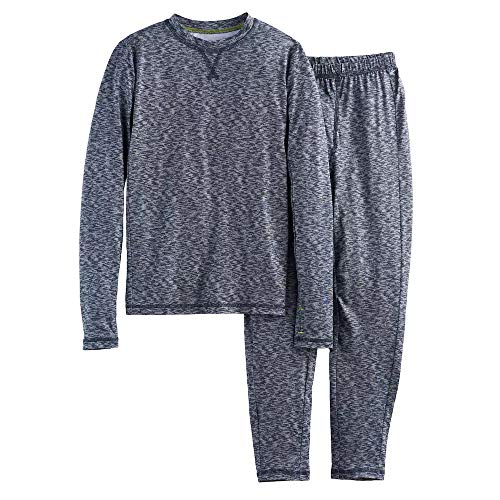 Boys Winter Base-Layer Thermal Underwear top and Bottom Set with Thumbhole, Space Dye S (6-7)